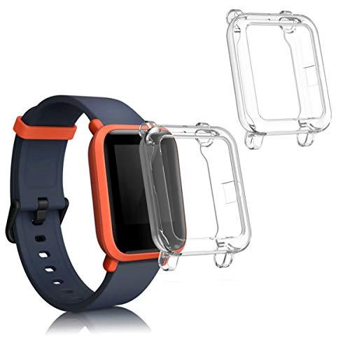 kwmobile 2 Pack de Fundas Compatible con Fitness Tracker Huami Amazfit Bip S/Bip S Lite - Case en Transparente