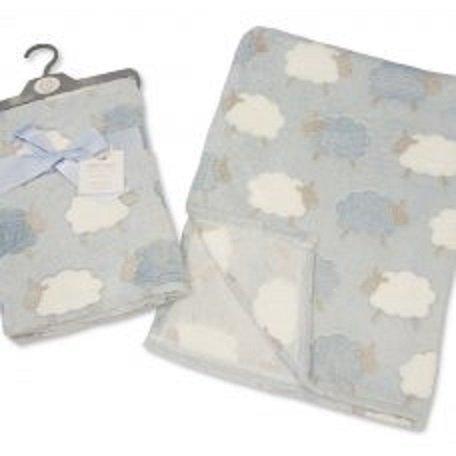 Couverture pour bébé garçon Motif moutons Bleu/blanc/gris 75 x 100 cm