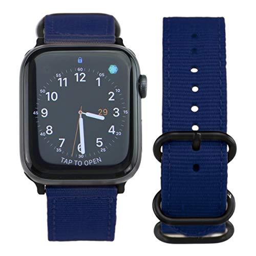 ARTCHE Uhrenarmband Nylon 42mm 44mm für Apple Watch, Vintage Uhrenarmbänder Nylon Verstellbarer Armband für Uhr, Uhren Band kompatibel mit Iwatch Serie 6 SE 5 4 3 2 1, Dunkelblau