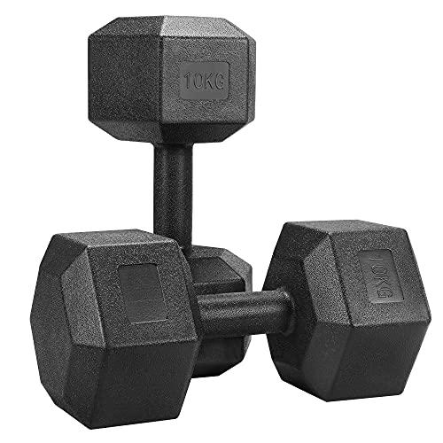 Yaheetech Set 2 Manubri Esagonali 5 kg per Palestra e Casa in Ferro e PVC Antiscivolo Nero