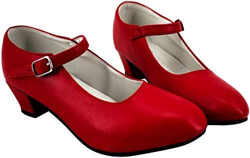 Gojoy shop- Zapato con Tacón de Danza Baile Flamenco o Sevillanas para Niña y Mujer, 5 Colores Disponibles (Rojo, 41)