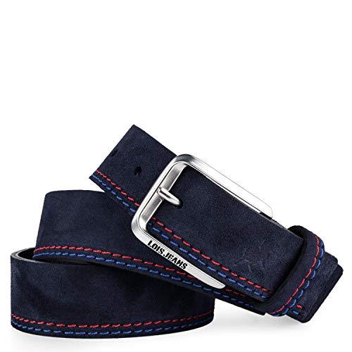 Lois - Cinturon Piel Serraje Ante Cuero Hombre Mujer. Hecho en ESPAÑA. Marca 35 mm Ancho. Talla Ajustable 501012, Color Marino