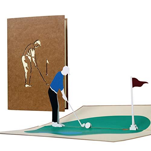 H15 Golf Grußkarte, 3D Geburtstagskarte für Golfer, Golf Geschenk für Männer, Pop Up Golf Karte zum Ruhestand, Rente Geldgeschenk, Golf Gutschein, Gutschein für den Golfurlaub