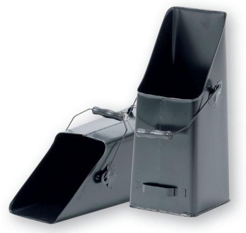 Kohle- / Pelletschütte mit Haltegriffen, Stahl schwarz, 210 x 210 x 500 mm (BxTxH)