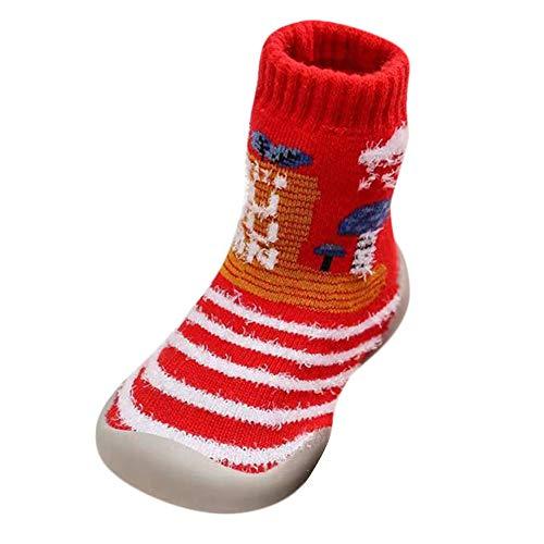 Jaysis Weihnachten Xmas Socken Schuhe Winter Warm Kinderschuhe Slip-On Hallenschuhe Laufschuhe Leichte Wandern Freizeitschuhe für Outdoor-Laufen Unisex-Kinder Rutschfestes Mädchen Jungen