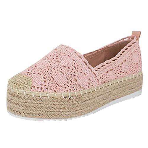 iYmitz Damen Freizeitschuhe Hollow Platform Einfarbig Atmungsaktiv Wedge Espadrilles Sommer Outdoor Schuhe Frauen Espadrilles Ohne Verschluss(Pink,EU/38)