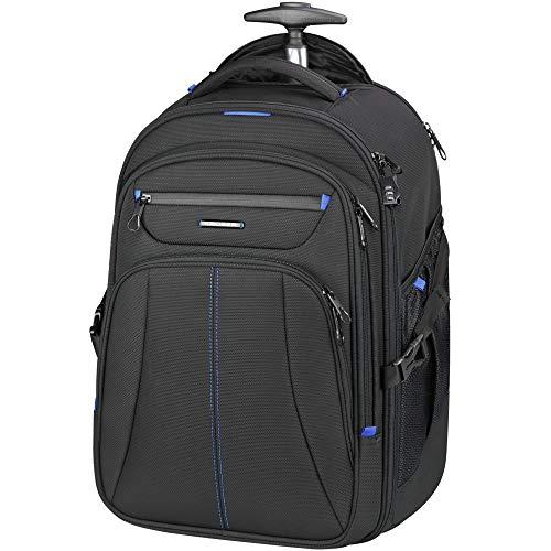 KROSER Laptop Trolley Rucksack Laptop Handgepäck Tasche Pilotenkoffer Aktenkoffer Mit Rollen Koffer Wasserdicht für bis zu 17 Zoll Laptop mit RFID-Taschen für Reisen/Business/Männer/Frauen-Schwarz