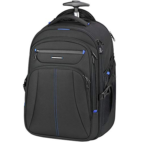 KROSER 17' Laptop Rolling Backpack Premium Wheeled Computer Backpack with RFID Pockets Check Point Friendly Water-Repellent Overnight Roller Case for Travel/Business-Black/Blue