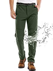 Waterproof Pants Men: Wear resistant stretch nylon surface layer with waterproof coating, effectively repels rain ,snow and oil stains, cuts the wind, prevents water molecules from penetrating; Inner layer made of skin-friendly warm fleece with super...