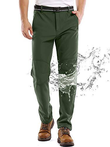Jessie Kidden Waterproof Pants Mens, Hiking Snow Ski Fleece Lined Insulated Soft Shell Winter Pants with Belt #5088-Army Green,36