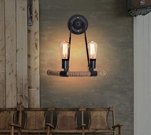 DINGYGJ Lámpara de Pared de Cuerda de cáñamo Industrial Vintage 2 × E27 Enchufe Medio círculo Lámpara de Noche Iluminación de Loft Sala de Estar Dormitorio Escaleras Negro [Clase energética A ++]