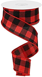 Plaid Check Wired Edge Ribbon - 10 Yards (Red, Black, 1.5 Inches)