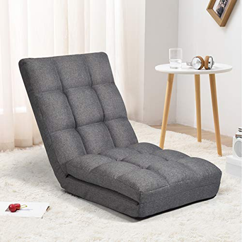 Esright Floor Chaise Lounge Chair, Adjustable Folding Floor Sofa Chair with Back Support &...