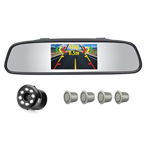 myTVS TVS-52 Video Reverse Car Parking Screen, Sensor and Camera with Distance Reading Voice - Silver