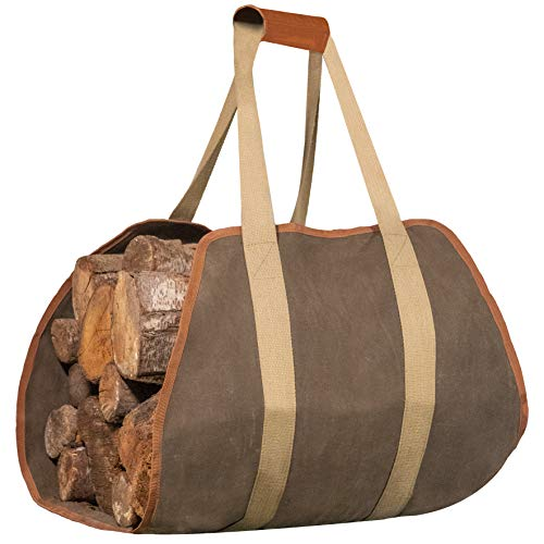 IGGY BLISS Firewood Carrier  Waxed Canvas Tote Bag with Padded Handles  Extra Large 40quotx19quot  for Fireplace or Camping or Outdoor Fire Pit or Bonfire