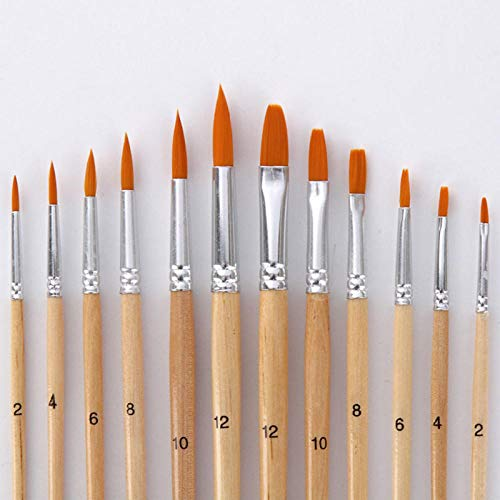 12 Unids/lote Pincel, Mango de madera de diferente tamaño Nylon Hair Oil Pinceles Set, Para Acuarela Acrílico Dibujo Arte