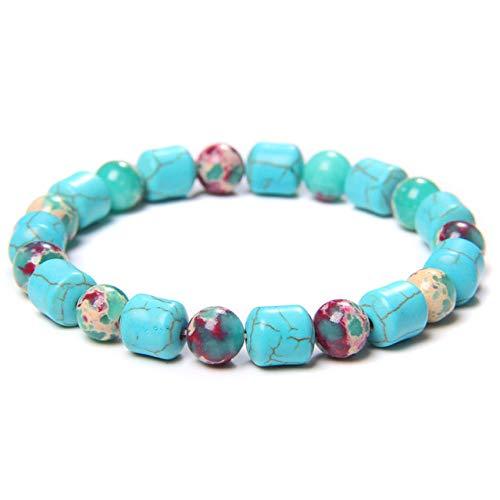 Zuiaidess Stone Bracelet Bangles Wristlet,Natural Stone Charm Bracelet Blue Turquoises Beads Buddha Prayer Strand Bracelets Bangles for Man Women Girls Yoga Stretch Bracelets,Shoushan Stone,21Cm