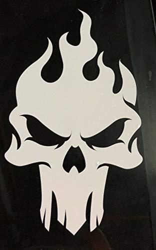 myrockshirt Totenkopf mit Flammen 20cm Skull Schädel tribal Flames Aufkleber Autoaufkleber Profi-Qualität ohne Hintergrund Sticker UV&waschanlagenfest