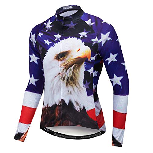 Invierno de manga larga hombres Ciclismo Jersey ropa Camisas Bicicletas Cabalgando Transpirable MTB Bike Jerseys CD8204 M