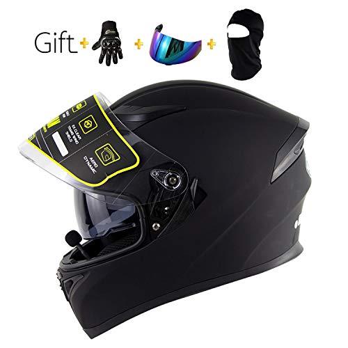 BHQF Schwarzer Motorrad Bluetooth Vollgesichtshelm/Erwachsener, der Straßenrennen-Motorradsturzhelm Cromwell-Helm Jet Doppelspiegel modularen Flip-Helm/Geschenksatz läuft,XL