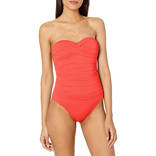 La Blanca Women's Island Goddess Rouched Front Bandeau One Piece Swimsuit, Bird of Paradise, 4