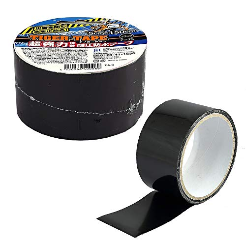 タイガーテープ 5cmX150cm 透明 T-5-T 黒 T-5-B 超強力 接着 耐圧防水テープ 災害用テープ (黒)