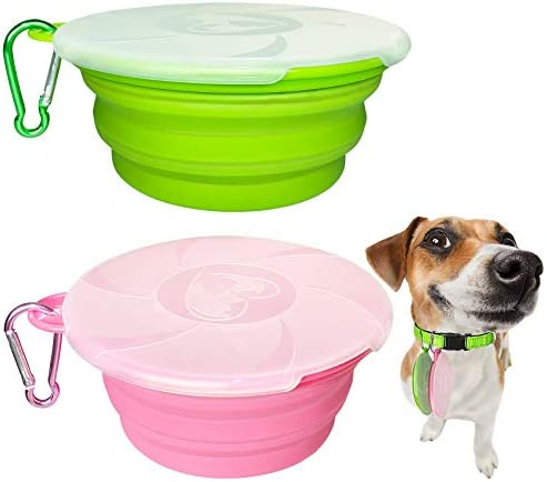 Collapsible Dog Bowl 2 Pack Travel Pet Bowls with Lids Cat Food Dog Water Bowls Portable Collapsable product image