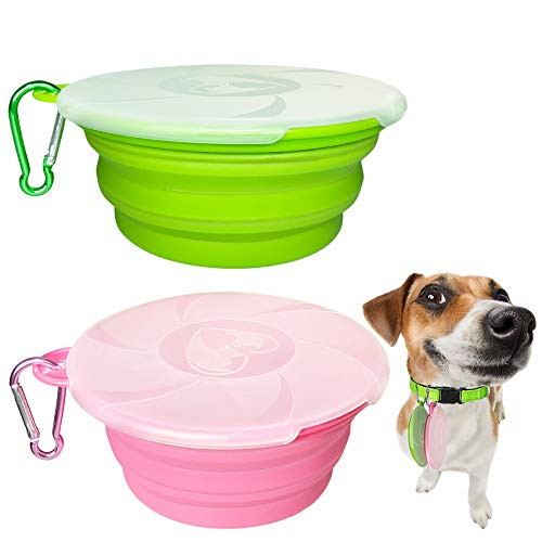 Price comparison product image Collapsible Dog Bowl,  2 Pack Travel Pet Bowls with Lids Cat Food Dog Water Bowls,  Portable Collapsable Feeding Bowls Pink Cup Dish for Walking Camping Kennels (450ML, 15OZ) (Pink+Green)