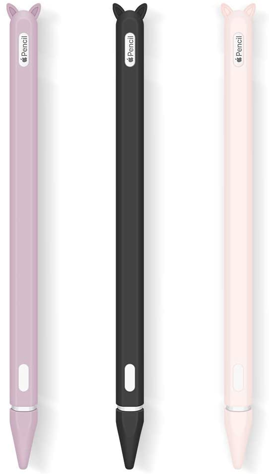 3 Pack Case for Apple Pencil 2nd Generation Holder Sleeve Skin Cover Accessories for iPad Pro 11 12.9 inch 2018,Silicone Cute Cat Grip Pouch Cap Holders and 3 Protective Nib Covers-Black,Pink,Purple