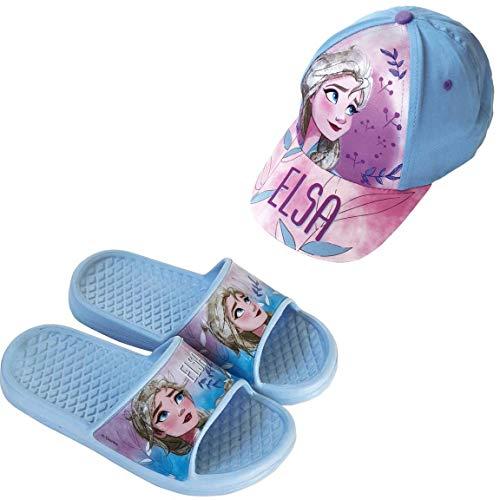 Chanclas Frozen Elsa Disney Flip-Flop para Playa o Piscina + Gorra Disney Frozen para Niñas (Azul, Numeric_30)