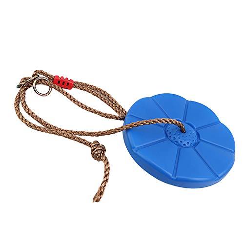 Bottlewise - Columpio de disco de plástico resistente a la intemperie para niños, asiento de columpio con cuerda, columpio, placa de suspensión para niños, columpio de disco de juguete (azul)