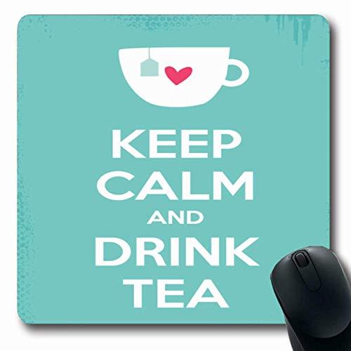 Jamron Mousepad OblongDiet Herbal Blue Relax Keep Calm Trinken Tee Essen Green Graphic Cup Motivation Sprichwort Satz Zitat rutschfeste Gummi Mauspad B眉ro Computer Laptop Spiele Mat.-Nr.