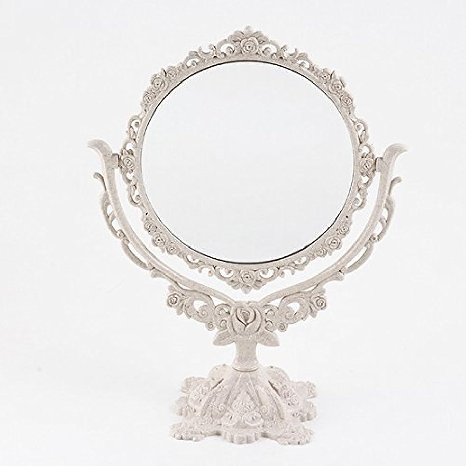 見ました乗り出すデイジーSymboat 化粧鏡 卓上 360度回転 ゴシックミラー 蝶ローズ装飾 美容ツール 両面 拡大鏡