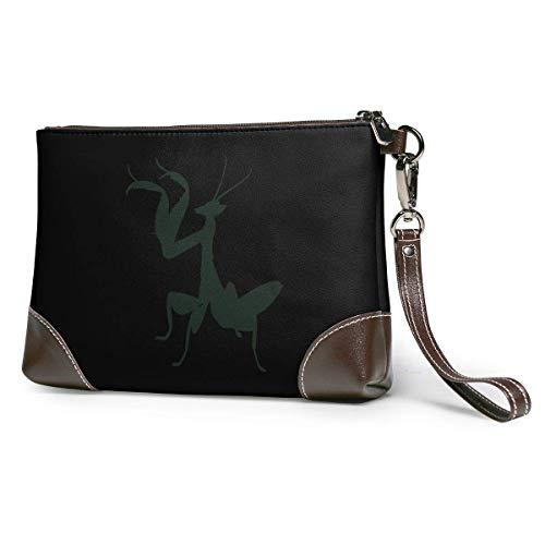 EDFG Bolso de mano de cuero con silueta de Mantis religiosa The Wallet Phone Bag