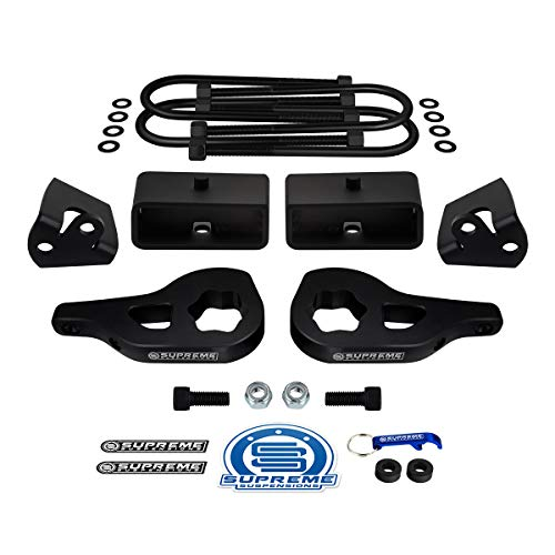 "Supreme Suspensions - Full Lift Kit for 2002-2005 Dodge Ram 1500 4WD Adjustable 1"" to 3"" Front Lift Torsion Keys + 2"" Rear Lift Blocks + Round Bend U-Bolts + Shock Mount Extenders"