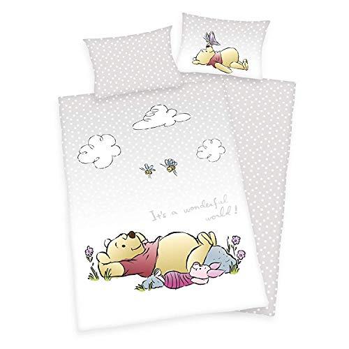 Arle-Living Juego de ropa de cama de 3 piezas, diseño de Winnie The Pooh/Pooh oso, 100 x 135 + 40 x 60 cm, 100% algodón (con sábanas), color blanco