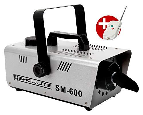 Showlite SM-600 Schneemaschine 600W mit Funk-Fernbedienung (30 m³/min Schneeausstoß, keine Aufwärmzeit, Tankvolumen: 1 Liter, inkl. Hängebügel) silber