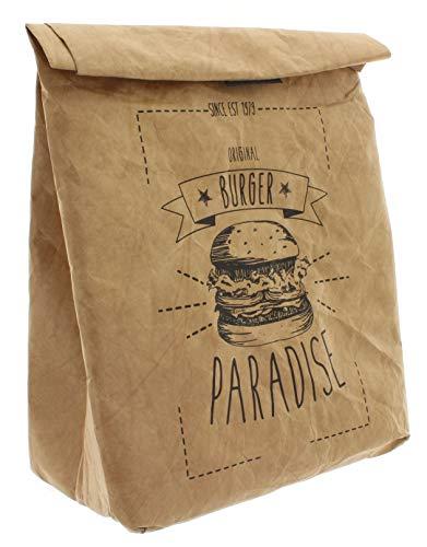 Pausenbrot-Tasche, Braune Lunchbag isoliert kalt oder warm, Kühltasche mit Klettverschluss, thermische Tasche (Lunchbag Burger Paradise)