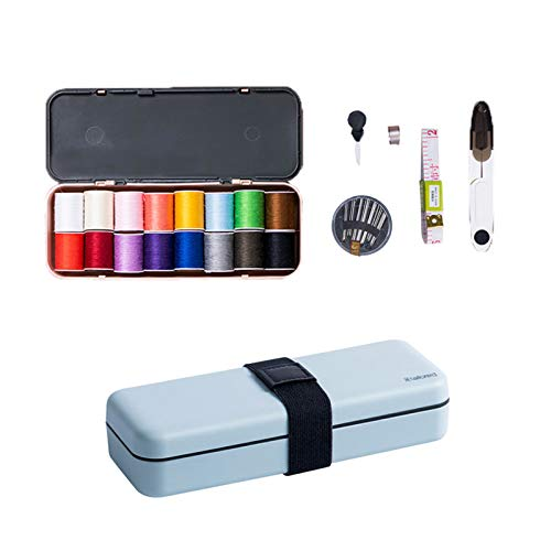 Zokomart Sewing Kits for Adults, Beginner, Travel Portable DIY Sewing Supplies Organizer Filled with 18 Colors Thread, Scissors, Thimble, Sewing Needles, Tape Measure Blue