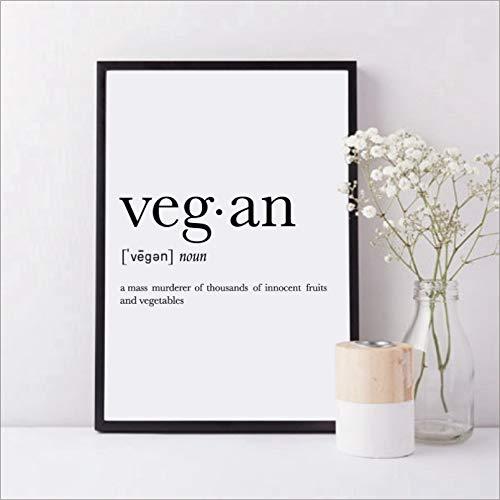 Pintura En Lienzo Póster Divertido De La Impresión Del Arte De La Definición Vegetariana Vegana Abstracta En Blanco Y Negro Pintura De La Pared Cuadros Para La Decoración Del Dormitorio De La Cocina
