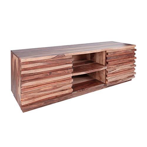 Massives TV-Board Relief 150cm Sheesham Holz Stone Finish Lowboard Fernsehschrank Wohnzimmerschrank