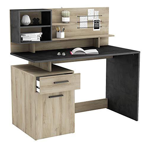 Miroytengo Mesa Escritorio Malicia con altillo Color kronberg y Sidewalk Oficina despacho Industrial 122x123x60cm