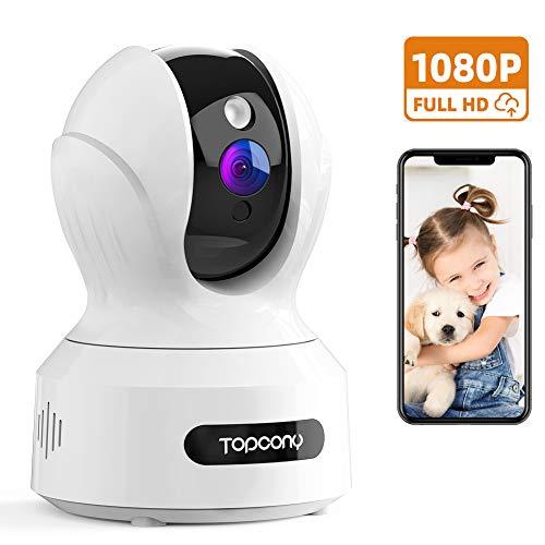Topcony Telecamera Sorveglianza WIFI 1080P, Videocamera Sicurezza IP Interno, Monitoraggio per Bambini/Animali con Visione Notturna, Rilevazione di Movimento Innovativo, Audio Bidirezionale