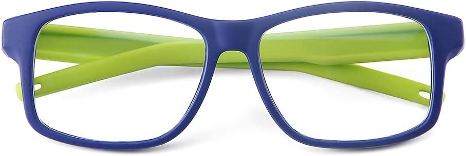 CNLO Kids Blue Light Glasses Girls & Boys Age 3-12,Computer Gaming Fake Eyeglasses Anti Eyestrain, Soft Silicone Material. (Blue Green)