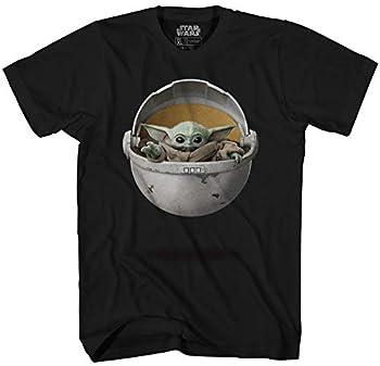 STAR WARS Baby Yoda The Mandalorian Men s Adult Graphic Tee T-Shirt  Black Medium
