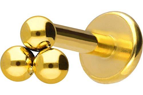 PIERCINGLINE Titan Labret Stecker Innengewinde | 3 Kugeln | Piercing Ohr Lippe Nase | Farb & Größenauswahl