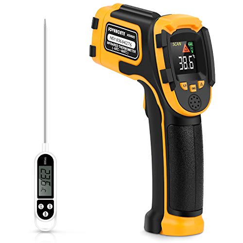 Infrared Thermometer No Touch Digital Laser Temperature Gun with Color Display -58℉~1112℉(-50℃~600℃)Adjustable Emissivity - for Cooking/BBQ/Freezer - Meat Thermometer Included -Non Body Thermometer