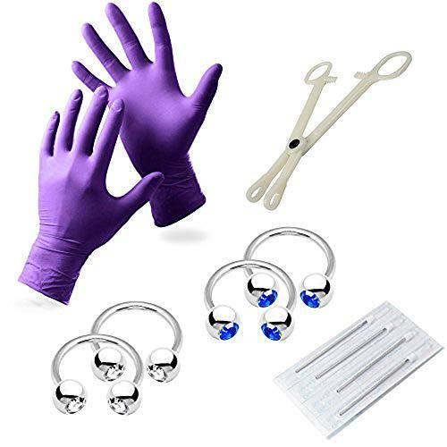 BodyJewelryonline Erwachsene 10 Stück 12 messen Piercing-Set - inkl. Handschuhe, Nadeln, Werkzeug und chirurgischer Stahl 316L Schmuck