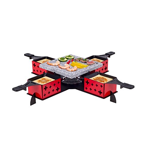 Nouvel 4er Raclette und Hot Stonegrill rot/schwarz one size