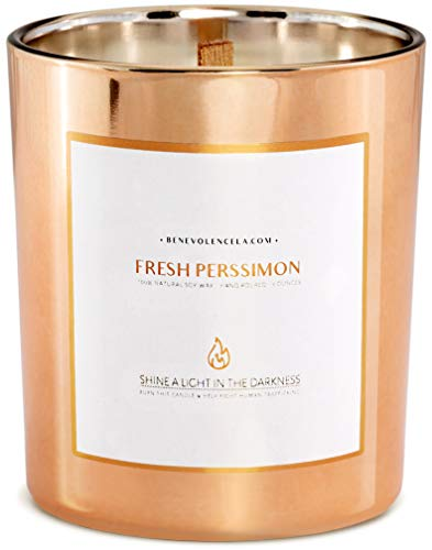 Benevolence LA Premium Fresh Persimmon Scented Candles | 45 Hrs Long Lasting Burn, Highly Scented, All Natural Soy Candles | Relaxing Aromatherapy Candle in Rose Gold Glass Jar